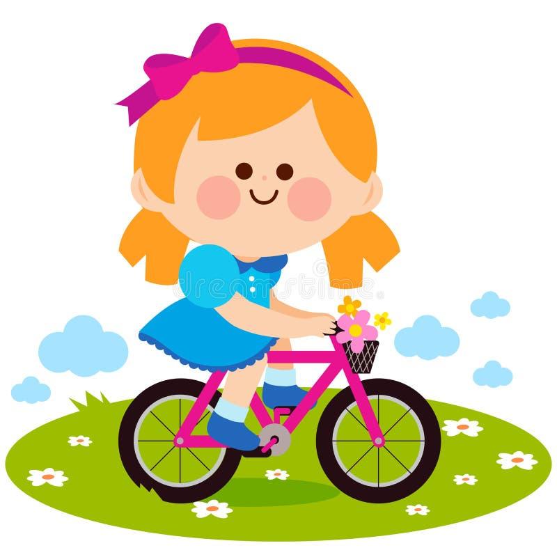 Muchacha que monta una bicicleta en el parque stock de ilustración