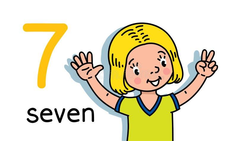 Muchacha que muestra la tarjeta a mano de cuenta de la educaci?n siete stock de ilustración
