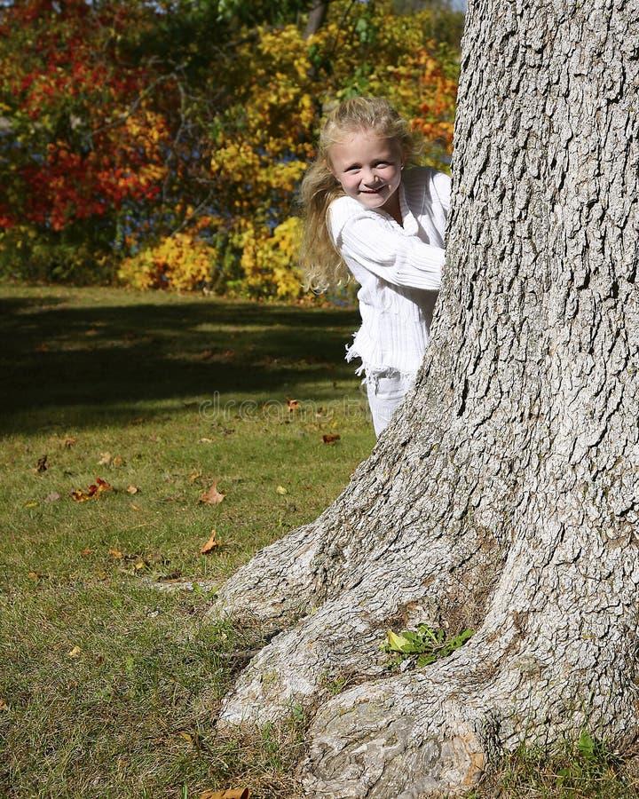 Muchacha que oculta detrás de árbol
