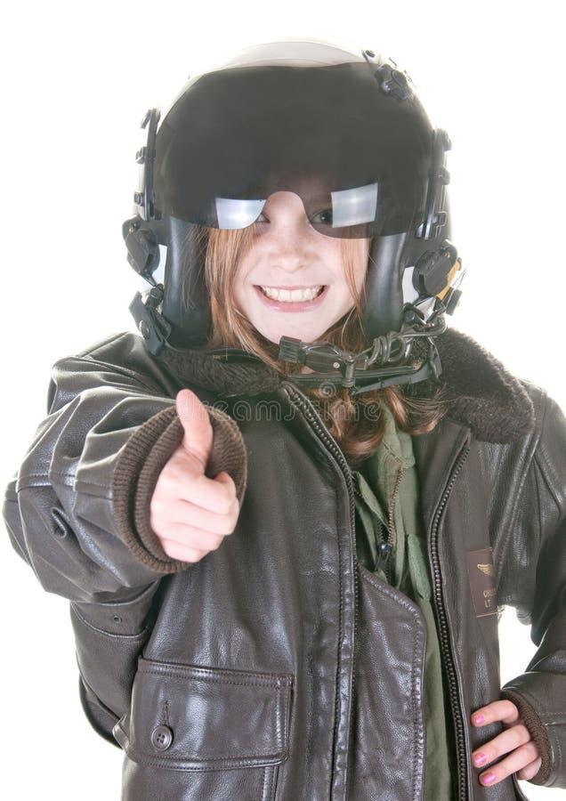 Muchacha que quiere ser aviador fotografía de archivo libre de regalías