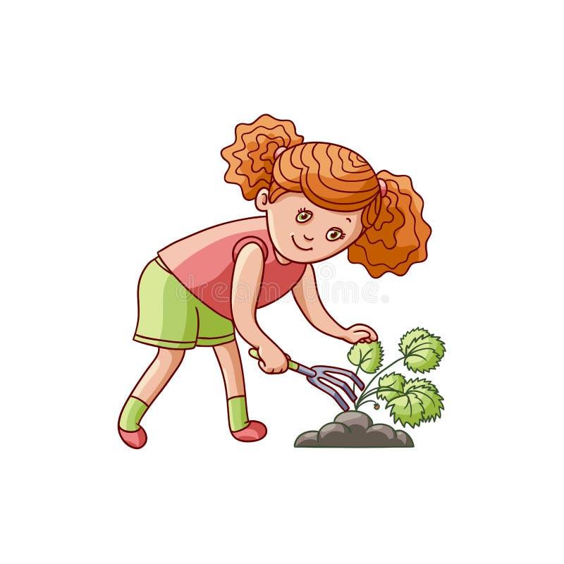 Muchacha que rasguña la tierra, cuidando para una planta de jardín stock de ilustración