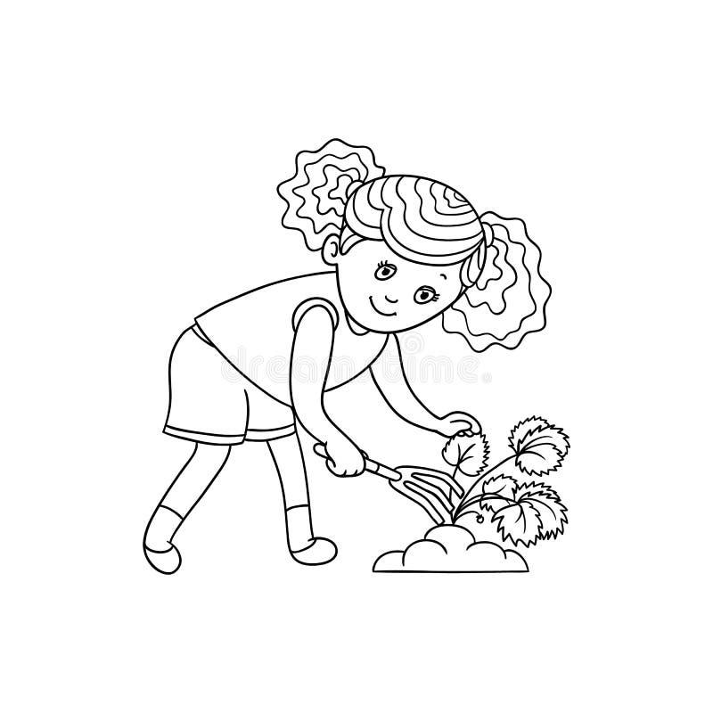 Muchacha que rasguña la tierra, cuidando para una planta de jardín ilustración del vector