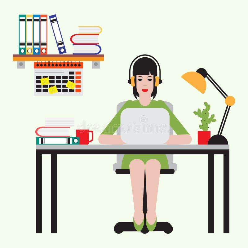 Muchacha que se sienta en la tabla y que trabaja en el ordenador portátil stock de ilustración