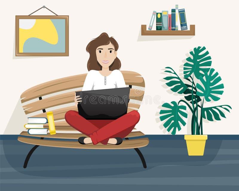 Muchacha que se sienta en un banco en una posición de Lotus con un ordenador portátil respecto a sus rodillas independiente Traba libre illustration