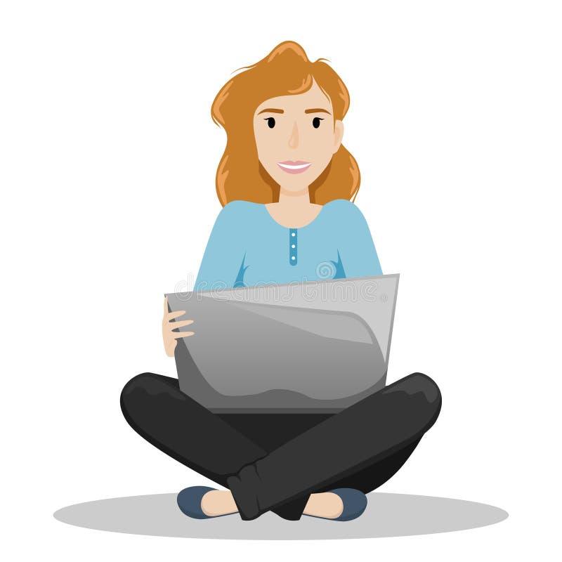 Muchacha que se sienta en un piso en una posición de Lotus con un ordenador portátil respecto a sus rodillas independiente Trabaj stock de ilustración