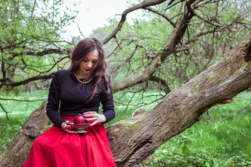 Muchacha que se sienta en un tronco de árbol fotografía de archivo