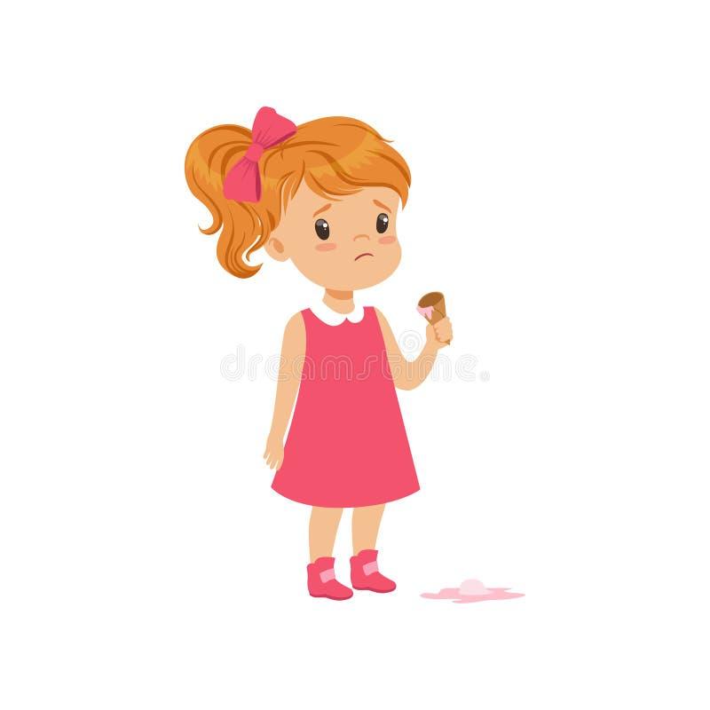 Muchacha que siente infeliz con el ejemplo del vector del descenso del helado en un fondo blanco stock de ilustración