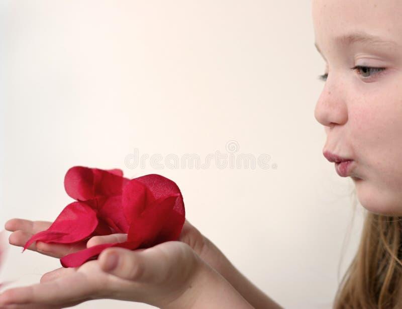 Muchacha que sopla a Rose Petals 2 fotografía de archivo
