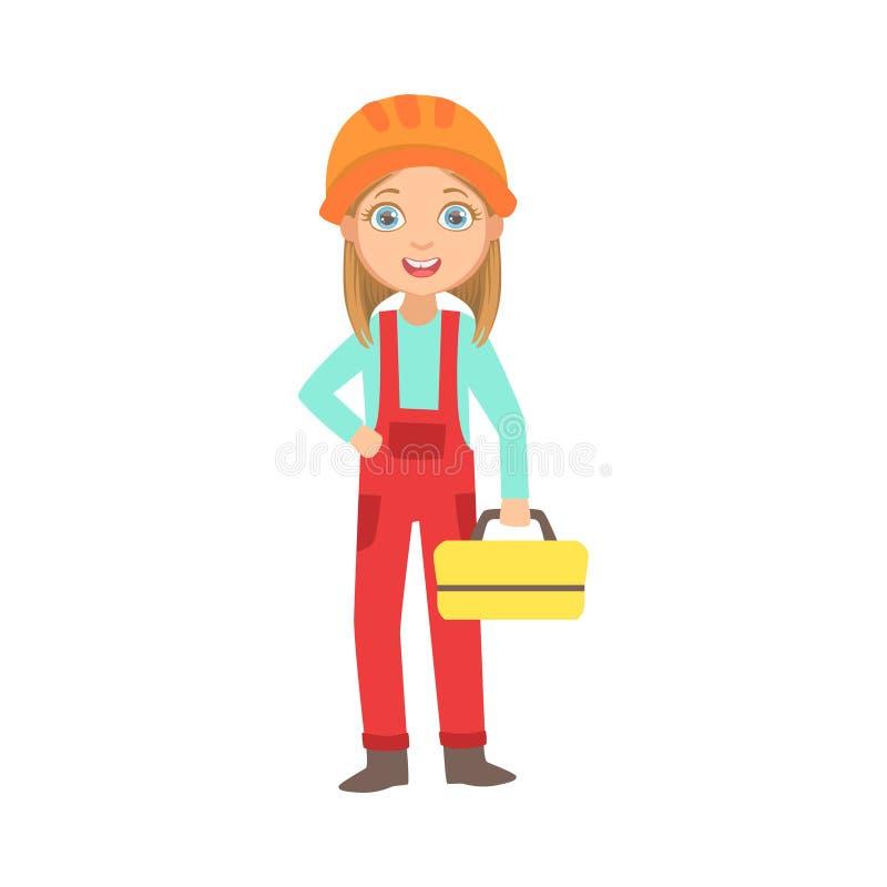 Muchacha que sostiene el instrumento Kit Box, niño del metal vestido como sistema ideal futuro de la profesión del sitio de On Th ilustración del vector