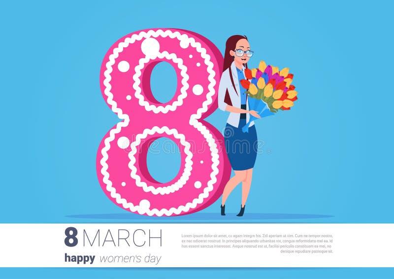 Muchacha que sostiene el ramo flores mujeres día saludo de día de fiesta feliz del 8 de marzo ilustración del vector