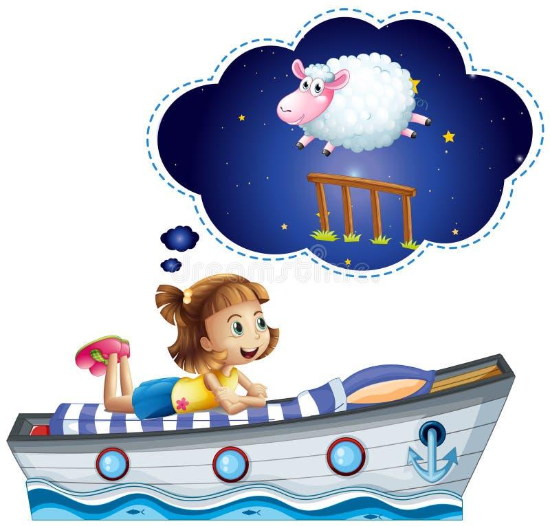 Muchacha que sueña en la cama formada de la nave libre illustration