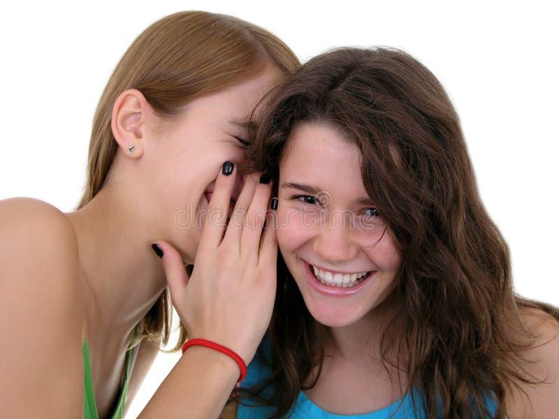 Muchacha que susurra en oído del `s del amigo fotos de archivo