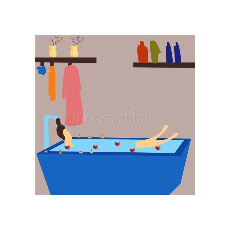 Muchacha que tiene la muestra y símbolo del vector del vector del baño aislados en el fondo blanco, muchacha que tiene concepto d stock de ilustración