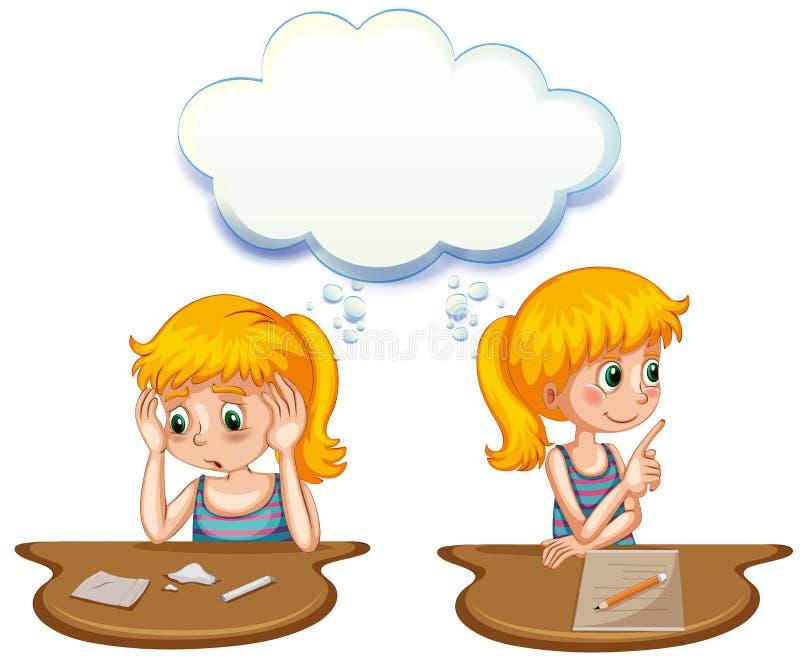 Muchacha que tiene pensamientos positivos y negativos stock de ilustración