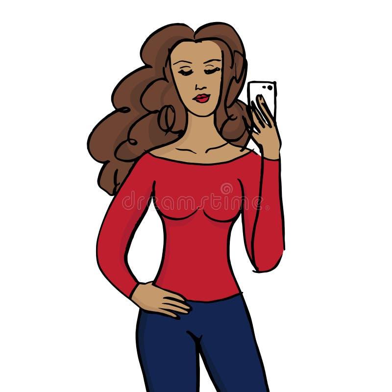 Muchacha que toma el fondo del blanco del selfie stock de ilustración