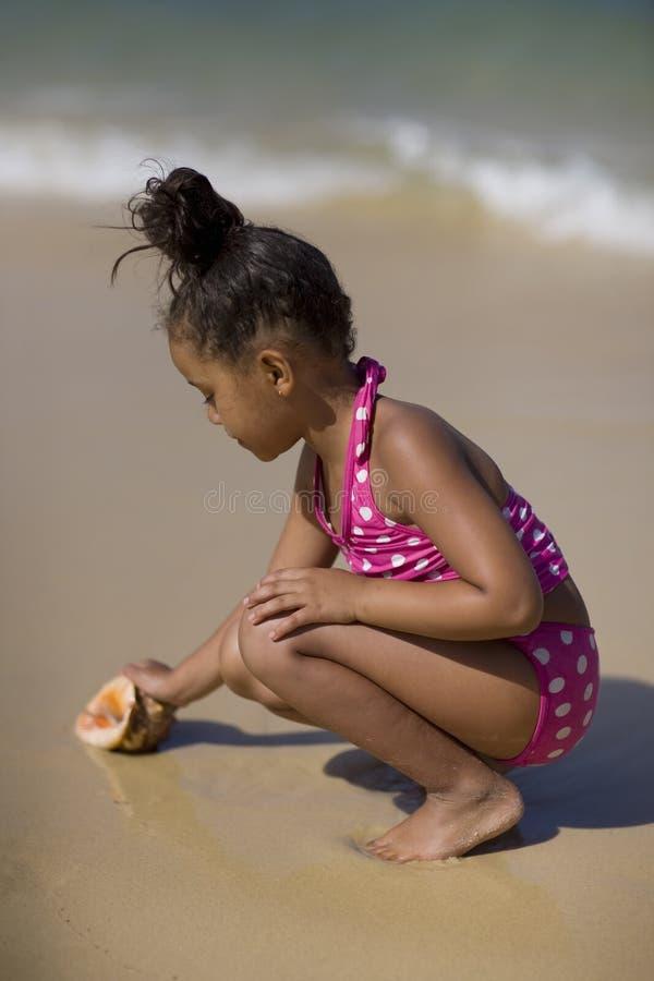 Muchacha que toma el shell de la concha. imágenes de archivo libres de regalías