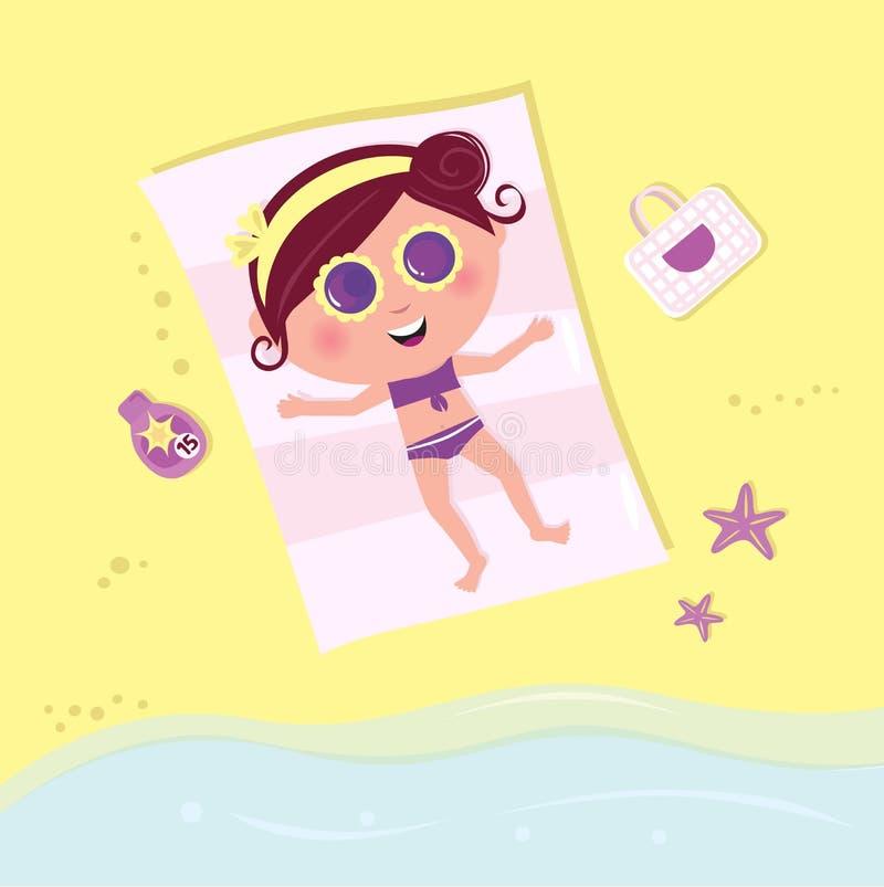 Muchacha que toma el sol en la playa libre illustration