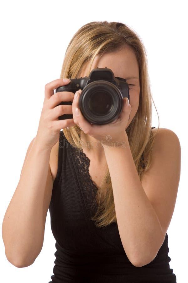Muchacha que toma una foto imagen de archivo libre de regalías