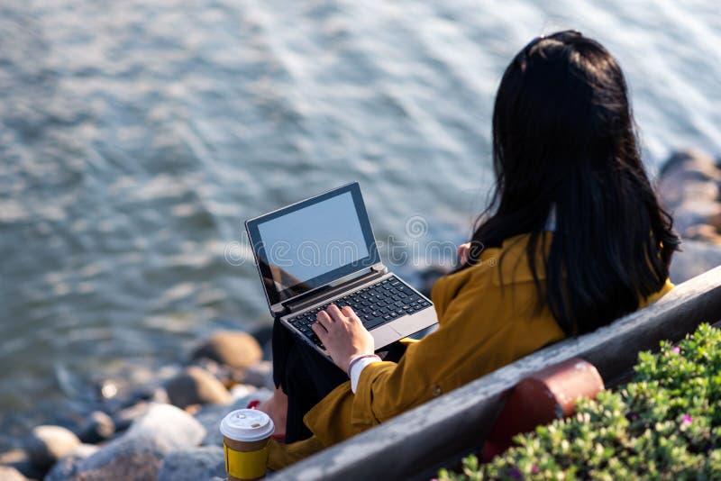 Muchacha que trabaja en el ordenador portátil por el lago fotos de archivo