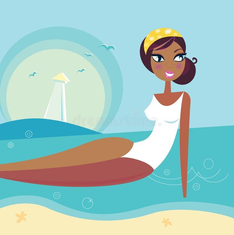 Muchacha retra del verano de la playa que se relaja en agua de mar libre illustration