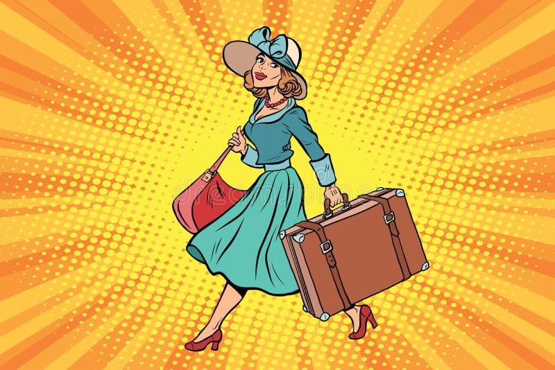 Muchacha retra del viajero con una maleta libre illustration