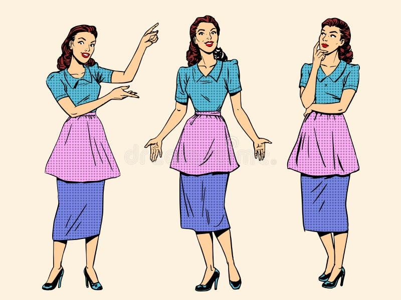 Muchacha retra determinada de la esposa de la mujer del ama de casa stock de ilustración