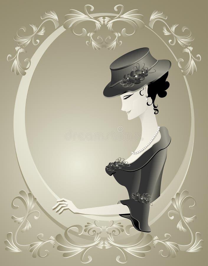 Muchacha retra en sombrero con las flores en marco   stock de ilustración
