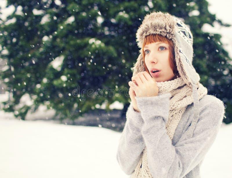 Muchacha en parque del invierno imagen de archivo libre de regalías