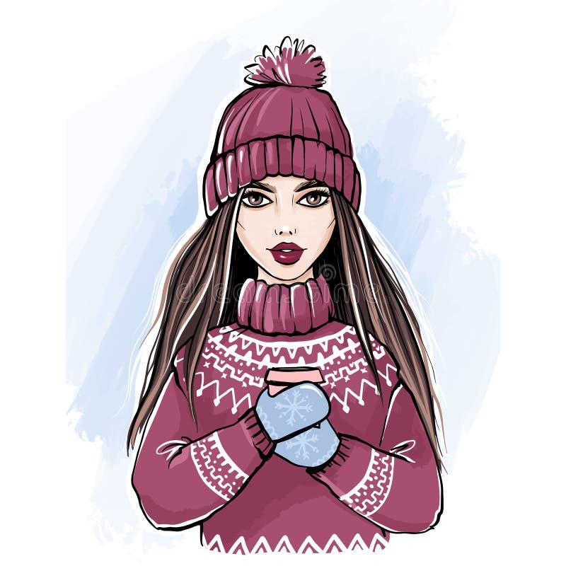 Muchacha romántica del invierno en suéter y sombrero hechos punto que goza de una taza de café stock de ilustración