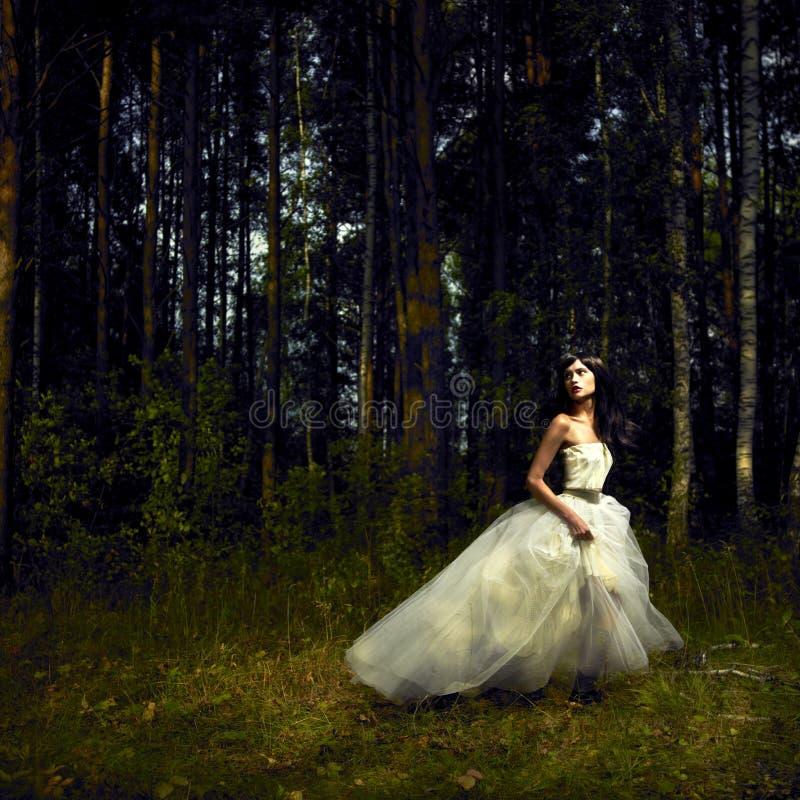 Muchacha romántica en bosque de hadas imagenes de archivo