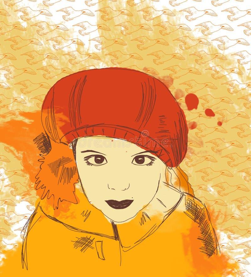 Muchacha romántica hermosa en sombrero y bufanda rojos ilustración del vector