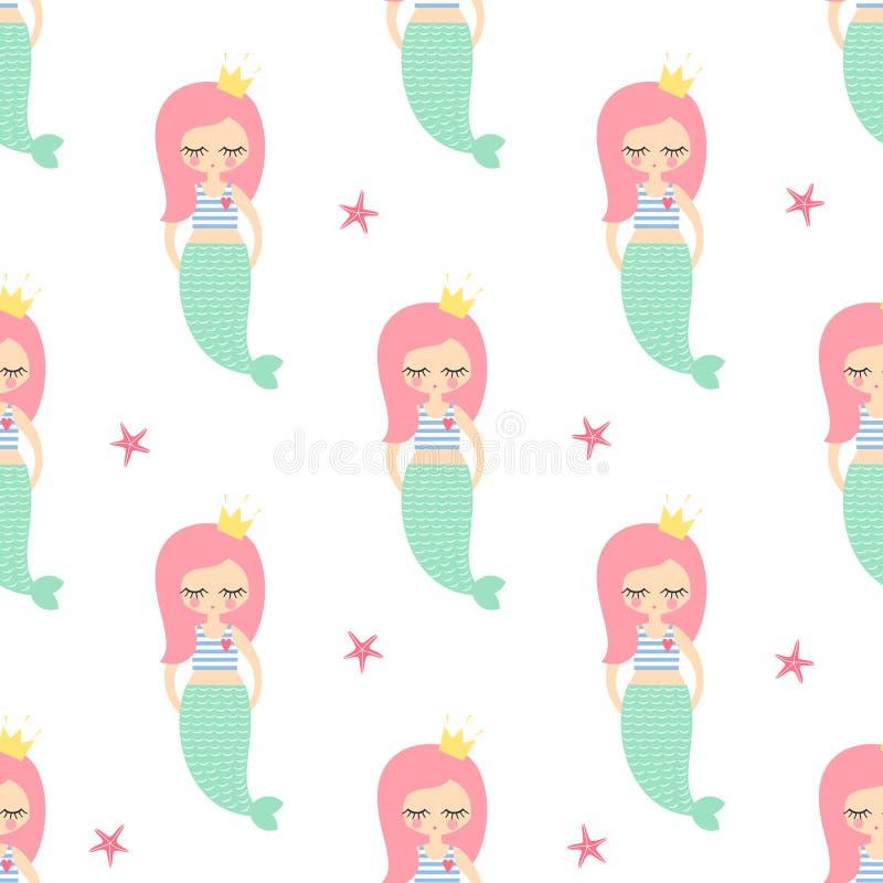 Muchacha rosada linda de la sirena del pelo con el modelo inconsútil de las estrellas de mar en el fondo blanco ilustración del vector