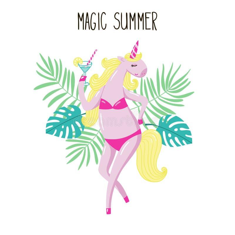 Muchacha rosada linda del unicornio en un traje de baño con un vidrio de martini libre illustration
