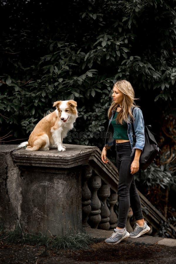 Muchacha rubia atractiva linda en chaqueta fresca de los vaqueros en el parque con su perro, border collie foto de archivo