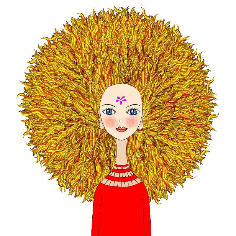 Muchacha rubia con el pelo dramático stock de ilustración