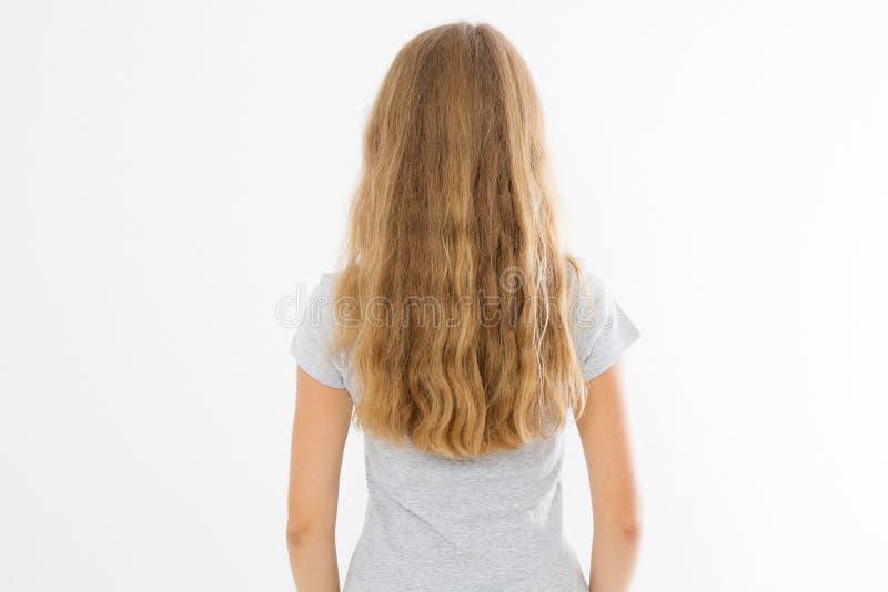 Muchacha rubia con el pelo sano largo y ondulado aislado en el fondo blanco Opinión de la parte posterior del peinado de la moda  imágenes de archivo libres de regalías