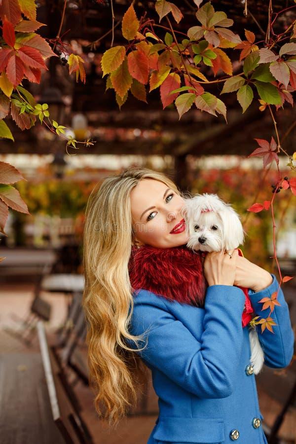 Muchacha rubia de lujo con el pelo hermoso en una capa en parque del otoño imagenes de archivo