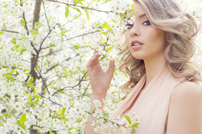 Muchacha rubia de ojos azules dulce elegante atractiva hermosa en el jardín cerca de las flores de cerezo en un día brillante sol imagen de archivo libre de regalías