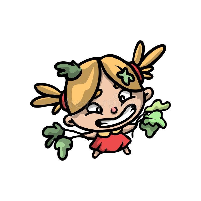 Muchacha rubia divertida linda en vestido rojo con las hojas verdes libre illustration