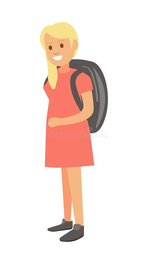 Muchacha rubia en vestido rosado con la mochila pesada ilustración del vector
