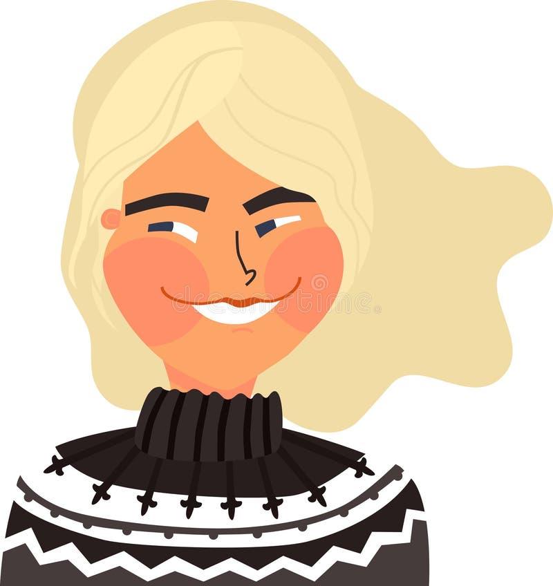 Muchacha rubia hermosa del ejemplo A del vector que lleva el objeto aislado estilo escandinavo islandés del suéter libre illustration