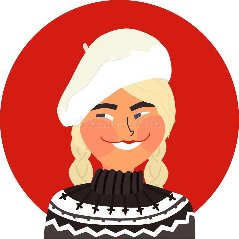 Muchacha rubia hermosa del ejemplo A del vector que lleva el suéter islandés y el objeto aislado estilo escandinavo blanco de la  libre illustration