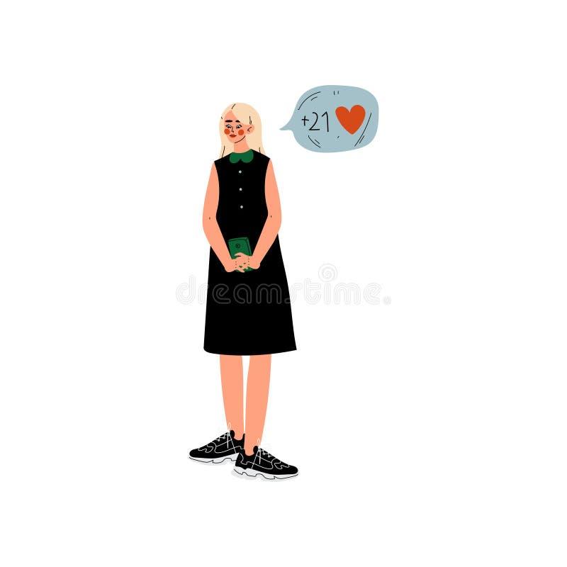 Muchacha rubia hermosa en vestido negro que charla en línea en su Smartphone, comunicación virtual de la red social de Internet ilustración del vector
