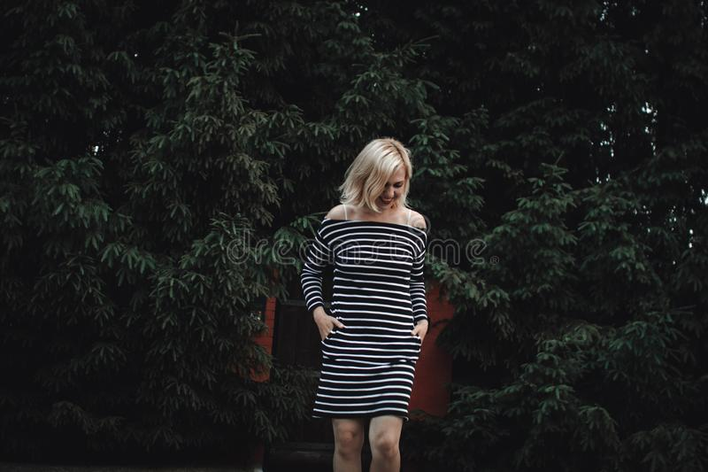 Muchacha rubia interesante elegante en un vestido rayado en una cerca de madera y un seto grueso de abetos Diversión y sonrisas l fotos de archivo libres de regalías