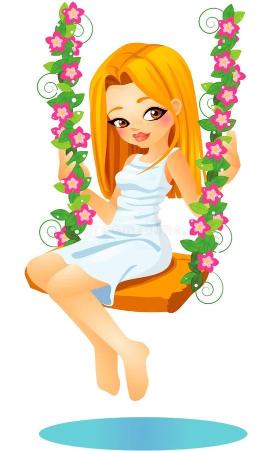 Muchacha rubia linda de la historieta del vector que se sienta en un oscilación floreal stock de ilustración