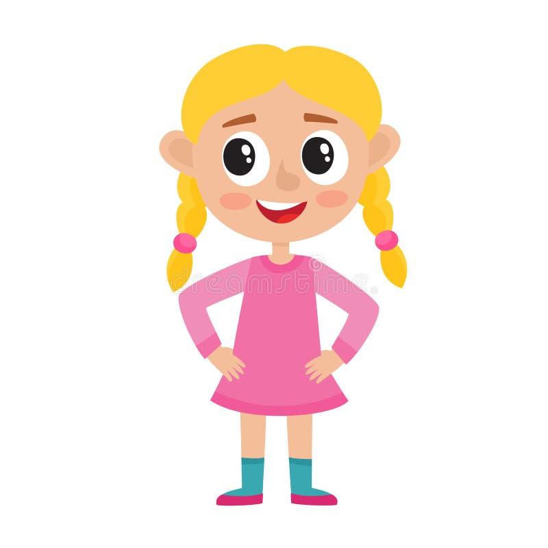 Muchacha rubia linda en el vestido rosado aislado en blanco ilustración del vector