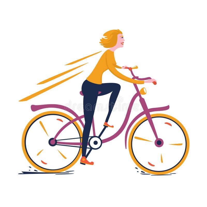 Muchacha rubia que monta una bicicleta del vintage ilustración del vector