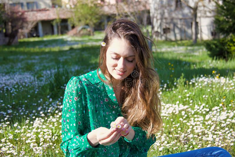 Muchacha rubia que recoge el manojo de margaritas en un campo en primavera fotos de archivo