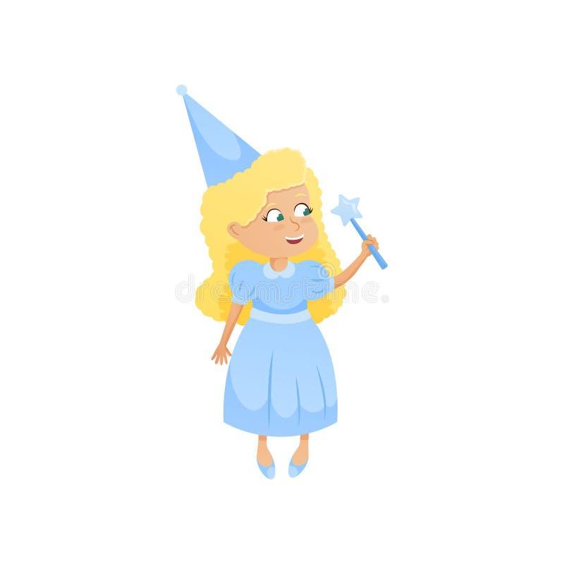 Muchacha rubia sonriente linda en traje azul de hadas con el palillo mágico stock de ilustración