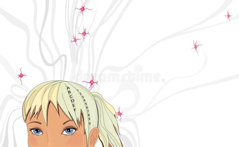 Muchacha rubia y su red neuronal Ilustraci?n chistosa Fondo ilustrativo stock de ilustración